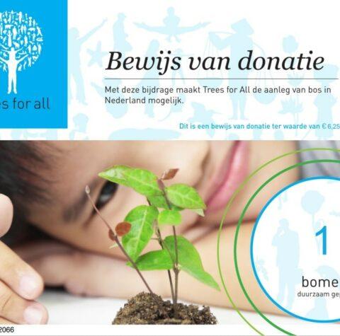 Duurzaam donatiebewijs boom